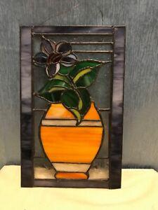 Vintage stained glass suncatcher handmade Flowers in vase