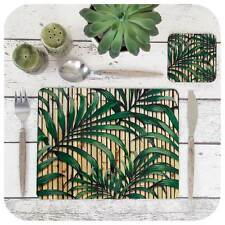 Tropical Palm Leaf Print Placemat & Coaster, Retro Bamboo Table Setting, Tiki