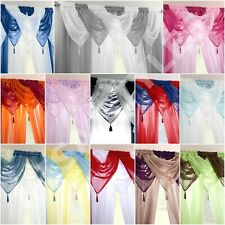 NEW READY MADE PLAIN TASSEL VOILE SWAG SWAGS NET CURTAIN PELMET VALANCE DRAPES