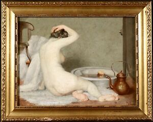 GEORGES FAR-SI (1866-1920) SIGNED FRENCH OIL CANVAS - NUDE GIRL TAKING BATH