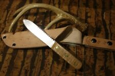 """Custom """"Russell /green river"""" tiger striped maple-kife and thick leather sheath"""