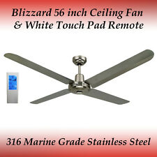 "Blizzard 56"" 316 Marine Grade Stainless Steel Ceiling Fan + White Touch Remote"