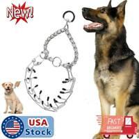 Metal Steel Pet Dog Pinch Prong Choke Chain Collar Training Gear Adjustable NEW
