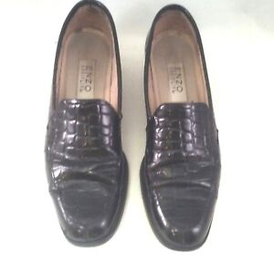 Loafer Black Size 6 1/2 Narrow Faux Reptile Slip On Enzo Angiolini Women's