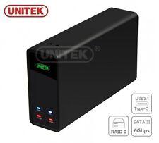 "Nuevo Unitek y-3364 Aluminio Dual De 2.5 ""Usb 3.1 a SATA HDD Externa Funda (RAID)"