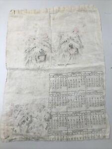 Vintage White Cloth Dog Calendar