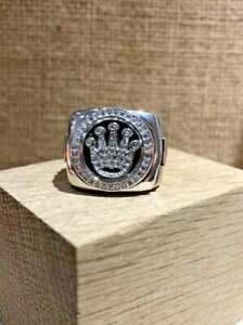 Stunning Sparkling White Round CZ In 925 Silver Men's Rolex Design Amazing Ring