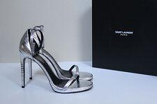 New sz 10.5 / 40.5 Saint Laurent Jane Metallic Lizard Embossed Heel Sandal Shoes