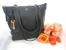 Vintage Black Fossil Purse Genuine Leather Zipper Glitter Key Tote Bag Large Big