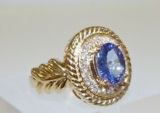 GENUINE! 1.48cts Tanzanite & G-H/SI Diamond Ring,  14k Yellow Gold + Valuation!