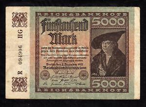 Y8F GERMANY  5000 MARK REICHSBANKNOTE 1922