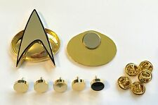 Star Trek Next Generation Communicator Badge Prop Replica + Rank Pip Set