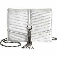 INC International Concepts Faux Leather Silver Metallic Crossbody Handbag Bag