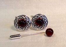 AMBER cufflinks with Celtic pattern, plus Amber Cravat/Tie Pin. Silver finish.