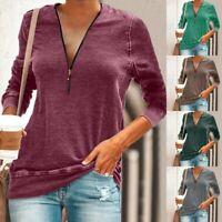 Womens Fall Tee Long Sleeve T-shirt Plain Basic Loose Shirt Blouse Ladies Tops L