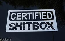 Funny Certified Shitbox Sticker Vinyl Car Bumper Decal 4x4 Hoon