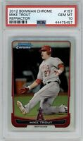 2012 Bowman Chrome Mike Trout Refractor #157 PSA 10 Gem Mint *Pop 15* RC