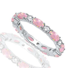 Oval Pink Fire Opal Eternity with Clear CZ Silver Ring