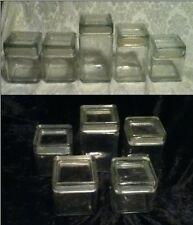 VINTAGE 5 piece Set Square Refrigerator Ice Box Storage  Glass Seal Canister
