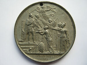 1831 Coronation of William IV medal in white metal 55mm holed BHM 1484