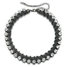 Fiorelli Costume SALE! Pewter Tone Mesh Chain Crystal Necklace (RRP £49)