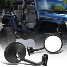 Jeep Wrangler TJ 97-06 TJ 07-18 Round Head Quick Release Side Mirrors Black Pair