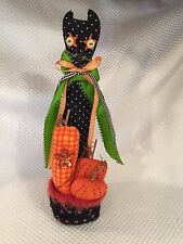 Primitive Halloween cat w pumpkins decoration Fabric decor Colorful NICE whimsy