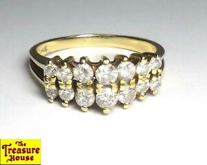 14-Stone Genuine Diamond Solid 14K Yellow Gold 2-Row Tier Dome Ring Size 8.25 4g
