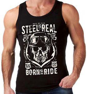 Velocitee Mens Vest Steel Is Real Born To Ride Biker Bobber Harley Skull V110
