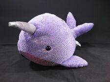 "Narwhal WHALE 16""  Purple Gold Glitter Plush Toy Aurora Destination Nation"