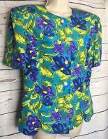 Leslie Fay Women's Jacket Top Size 14 Blue Floral Button Front Washable
