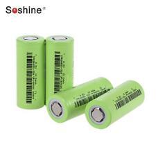 4x Soshine IFR 26650 Battery 3.2V Rechargeable 3200mAh 30A Flat Top LiFePO4 Z4O3