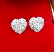 DEAL!1.00 CT Genuine Cluster Diamond Heart Halo Studs Earrings 10K Gold 10MM