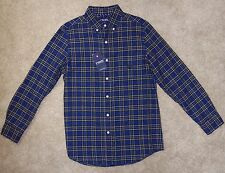 New Chaps Ralph Lauren Shirt Small Blue Plaid Cotton Oxford Long Sleeve Collared