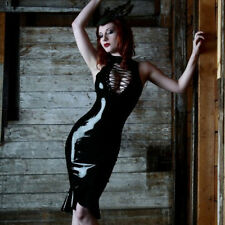 Women Robe PVC Lace Up Bodycon Dress Clubwear Costumes Nightdress Temptation