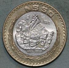 MEXICO 1993 $50 Pesos NIÑOS HEROES Bi-Metallic silver core coin, KM# 571