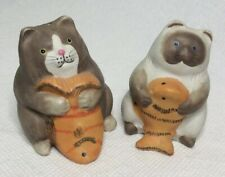 Vintage Hand Painted Fishy Kitty Cats Ceramic Salt & Pepper Shakers
