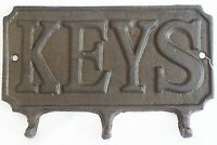Schlüsselbrett Keys / Schlüsselleiste / 3 Haken / Gusseisen / Shabby Chic