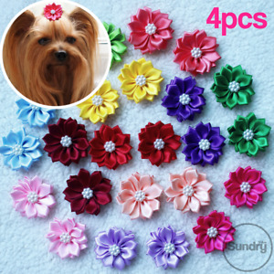 4Pcs Hair Bow Tie Pet Dog Cat Bowknot Rubber Hairband Grooming Faux Pearl Flower