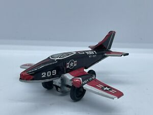 Vintage Japan Tin Navy Fighter Jet Airplane VF-127 #209 Antique Old Vtg USA Rare