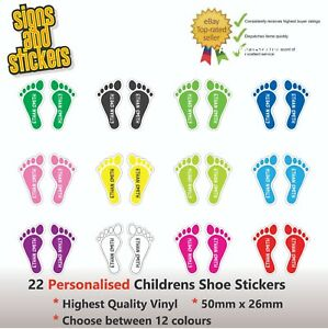 20 Pairs Personalised Shoes Kids Childrens Name Labels Feet Stickers shoe
