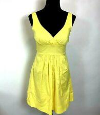 Windsor Dress size 9 10 Yellow Empire Waist Sleeveless Lined Tie Back Above Knee