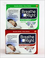 Breathe Right Nasal Strips Extra 72 Strips Tan/Clear New Sealed Free Shipping