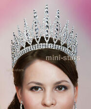 Pageant Beauty Contest Crown Tall Full Circle Tiara use Swarovski Crystal T1723