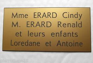 plaque gravée boite aux lettres porte personnalisée 4 lignes  format 80 x 200 mm