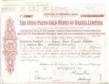 Original Brazil 1923 Ouro Preto Gold Mines Limited 50 shares £50 Uncancelled