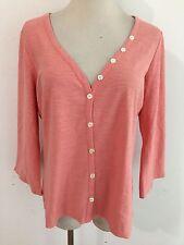 J.Jill 'Vintage' Cotton Button-Front Top Blouse Pale Coral Size M