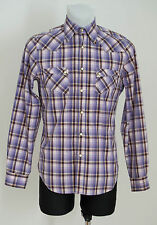 MENS GANT CASUAL SHIRT LONG SLEEVED PURPLE CHECKED FITTED SIZE M MEDIUM EXC