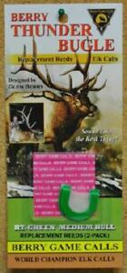 Package of 2 Berry Thunder Bugle Elk Game Call Replacement Reeds RT-Green Double