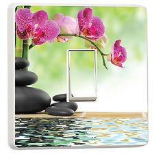 Bamboo Floral Zen basalt stones flower photo light switch cover (10099158)